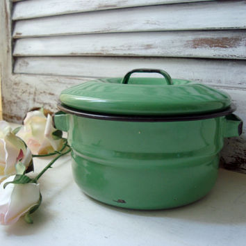 Small Enamel Green Pot, French Country Decor, Shabby Chic Kitchen Decor, Small Cooking Pot, Vintage French Cottage Kitchen Pot