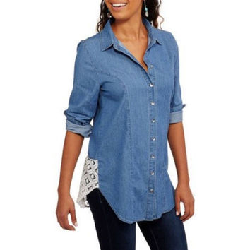 Derek Heart Juniors' Button Down Denim Shirt, Water Blue, Large