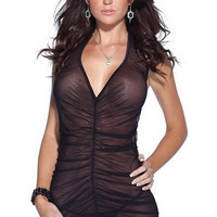 Black V-Neck Ruched Mesh Lingerie