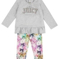 Heather Cozy Reign Baby 2 Piece Set Graphic Long Sleeve Top & Reigning Cats Legging by Juicy Couture,