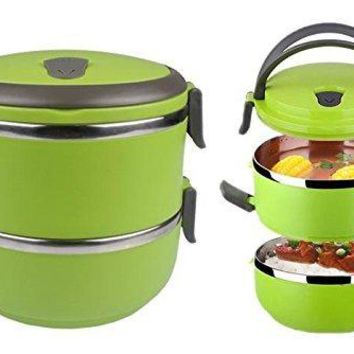 Bento Lunch Box - Lunch Containers - 2 Tier Tiffin Round Vacuum Seal Lid - Stainless Steel Interior - Double Layer Tiffin Box - Stacking Lunch Box - For Hot and Cold Food - Leak Proof - Individual Locking Clips (green)