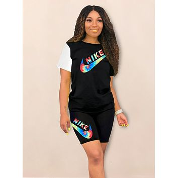 NIKE Summer New Multicolor Letter Hook Print Top And Shorts Two Piece Suit Black