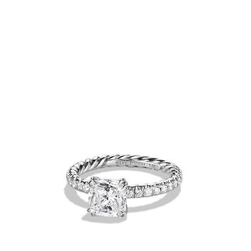 DY Single Row Pave Engagement Ring in Platinum