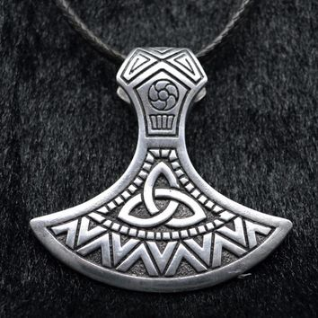 Antique Silver Punk Slavic Valknut Viking Axe Amulet Axes Gothic Pagan Charm Pendant Necklace Christmas Gift Men Women