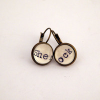 Sherlock earrings, Sherlock Holmes gift, gift under 15, literary earrings, reader gift, Sherlock fan gift, BBC Sherlock, secret santa gift