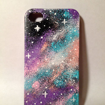 Hand Painted Colorful Galaxy iPhone 4/4s/5/5s Case