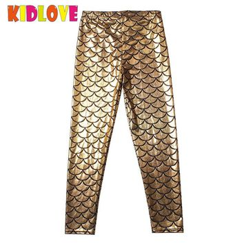 Kidlove Children Fish Scale Ninth Pants Kids Girl Soft Mermaids Leggings Elastic Pencil Trousers Clothing Clothing Props ZK30