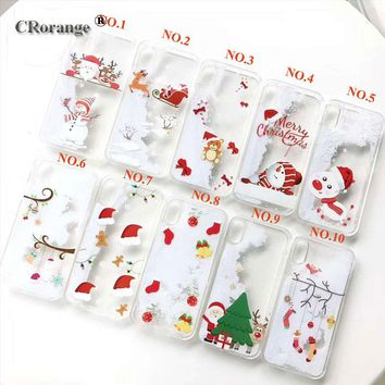 Christmas decor Case For iPhone 7 6 6S Plus Cases Cute Cover Accessories Snow dynamic christmas ornament for iPhone 8 Plus case