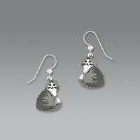 Sienna Sky Earrings - Long-Haired Gray and White Tabby Cat
