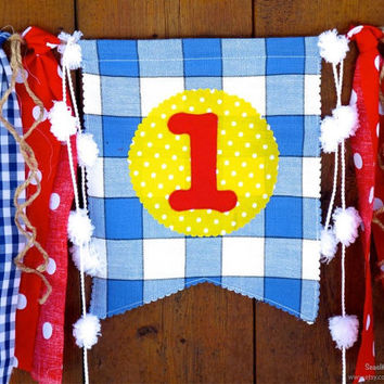 Paddington Bear Birthday Banner High Chair Highchair Garland Bunting County Fair Circus First One Birthday Decor Cake Smash Red Yellow Blue