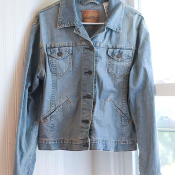 Vintage 80s Jean Jacket, 1980s Levi Strauss Denim Jacket, Ladies Womens Size 12/14, Retro Outerwear Fashion, Hipster Style,