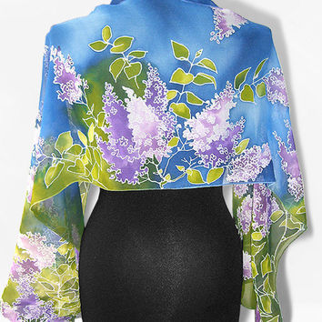 Silk Scarf long - Lilac in Blue - hand painted handmade scarves - violet lila flowers blue green