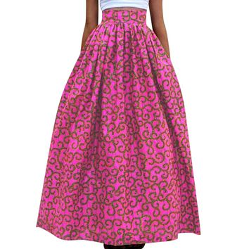 Novarena 2019 Women African Printed Womens Casual Maxi Skirt Flared Pleated Floral Maxi Dashiki Long Skirts Multi Plus Size A Line High Waist Ball Gown (XS-XL)