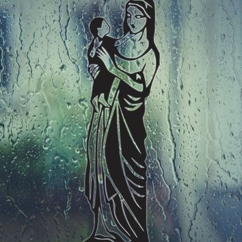 Mother Mary Picture with kid Jesus in Hand Vinyl Wall Decal - Permanent Sticker