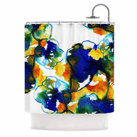 "Sonal Nathwani ""Blue Orange Floral"" Abstract Watercolor Shower Curtain"