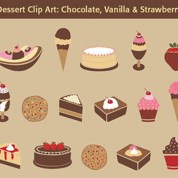 Desserts Clip Art: Chocolate, Vanilla, Strawberry - 16 dessert clipart images, blog images, web design, graphic design, digital graphics