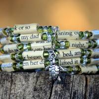 The Last Song Paper Bead Bracelet - Spiral Wrap Bracelet - Memory Wire - Upcycled - Green