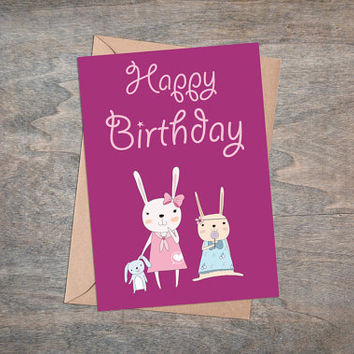 "Cute Rabbit Girls - Birthday Greeting Card, Printable, 5x7"", Foldable Card, Happy Birthday, Bunny, Baby Girl, Red, Pink"