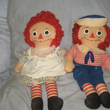 Vintage 16 inch   RAGGEDY ANN  and ANDY dolls   1960s! Knickerbocker   toys
