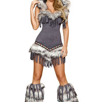 Gray Faux Fur Fringed Native American Costume