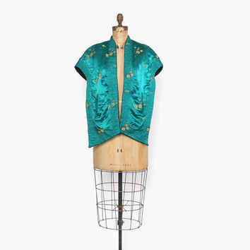 Vintage 50s Reversible Silk Stole / 1950s Teal Green or Black Quilted Brocade Evening Jacket Wrap