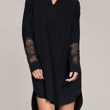 Black Crochet Lace Detail Dipped Hem Long Sleeve Shirt Dress