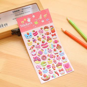 1pc Animals DIY Cute Cartoon 3D Sponge Bubble Stickers Cat Fruit Giraffe Icecream For Album Decor Kids Children Gift Toys CTZ01