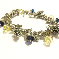 Winter Wedding, Bridal Jewelry, Pinecone Crystal Charm Bracelet, Navy Blue and Yellow Bracelet Made With Swarovski Crystals, Winter Jewelry