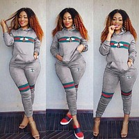 GUCCI Popular Women Casual Stripe Bee Print Long Sleeve Top Pants Set Two-Piece Sportswear