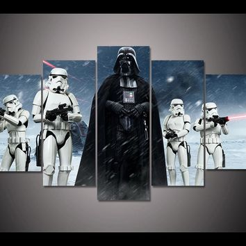 HD Prints Pictures Wall Art Canvas Posters Home Decor 5 Pieces Star Wars  Darth Vader Movie 3efbef1a1f