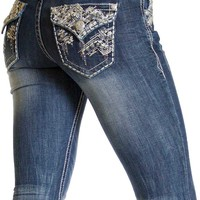 Grace in LA Jeans Bootcut with Chevron Embellished Flap Pockets JB5936-SL