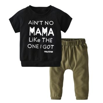 Summer Newborn Baby Boy Girl Clothes Short Sleeve Cotton T-shirt Tops + Pants Toddler Outfit Kids Infant 2PCS Clothing Set