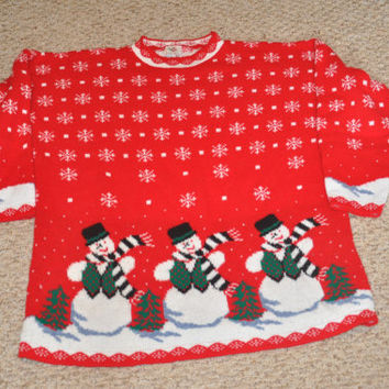 Vintage Nutcracker Ugly Christmas Sweater with Snowmen