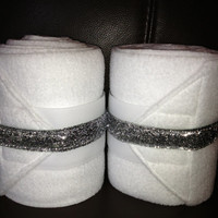 2 White Polo Wraps with Silver Glitter Ribbon