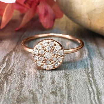 7x7MM Diamond Cluster Disk Cocktail <Pave> Solid 14K Rose Gold (14KR) Affordable Engagement Ring *Fine Jewelry* (Free Shipping)