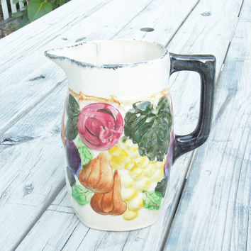 Ceramic water pitcher water jug with hand-painted fruits and/or vegetables - Colorful cottage-chic decor country decor