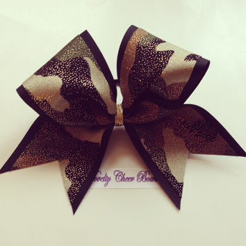 Camo with Gold Foil over Black Cheer Bow with border, without border or tictoc