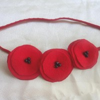 3 Felt Red Flowers Headband For Bab.. on Luulla