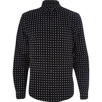 River Island MensBlack flannel spotted long sleeve shirt
