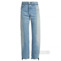 Indie Designs Vetements Inspired Blue Reworked Straight-Leg Jeans
