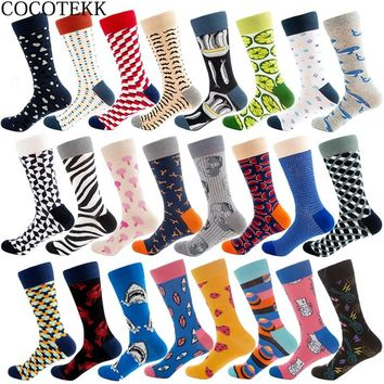 New Trend Fashion Combed Cotton Men Socks Unisex Women Animal Popular Hip Hop Skateboard Socks Men Novelty Wedding Dress Socks