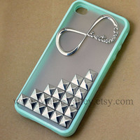 Iphone 5 Case, One Direction Iphone 5 Case, Antique Silver Stud Iphone 5 Case, Light Green Iphone 5 Case Cover
