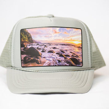 Poly/foam trucker hat with scenic Hawaii photo printed on the front