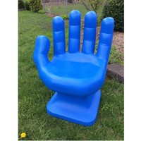 """Royal Blue LEFT Hand Shaped Chair 32"""" tall adult size 70's Retro EAMES iCarly NEW"""