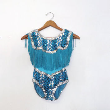 Vintage Kids Teal Blue Cowgirl Sequin Fringe Dance Costume Little Girl Ballet Leotard Unitard Tutu Theater Dance Performance Marvel Large
