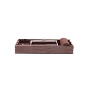 WOLF Blake Valet Tray with Watch Cuff - Genuine Brown Lizard Leather