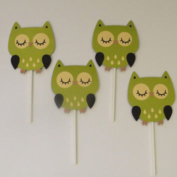 Owl Baby Shower | Cupcake Topper | Green | Baby Boy | Baby Girl | Gender Reveal | Baby Shower | Birthday