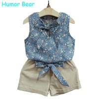 Humor Bear 2016 Summer Style Kids Clothes Fashion Flower T shirt + Pant Baby Suits Children Clothing Set Baby Girls Clothes