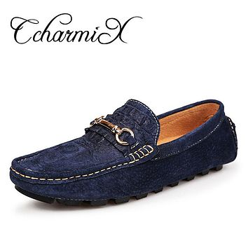 Men Leather Spiked Fashion Alligator Printed Casual Shoe Moccasins Slip On Formal Dress Man Luxury