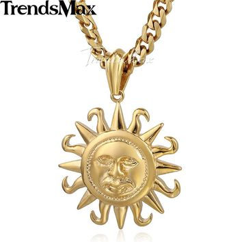 Trendsmax Gold-color Sun Pendant Mens Boys 316L Stainless Steel Pendant Fashion Necklace Jewelry HP102-HP103